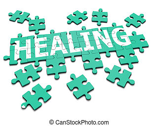 "3d render of a jigsaw spelling the word ""Healing"""