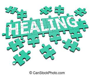 3d Healing jigsaw - 3d render of a jigsaw spelling the word...