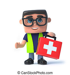 3d Health and safety officer carries a first aid kit.