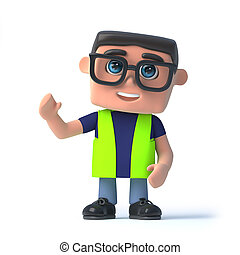 3d Health and safety officer waves hello