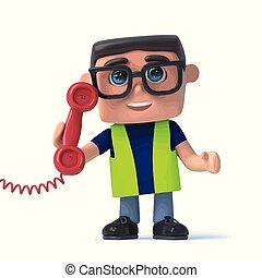 3d Health and safety worker answers the phone