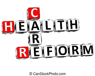 3D Health Care Reform Crossword on white background