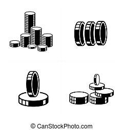 3D heap Coins Icons