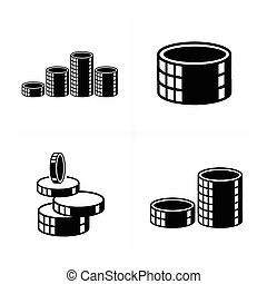 3D heap Coins Icons set