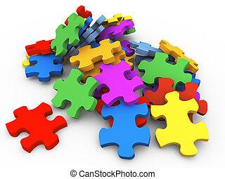 3d heap of puzzle peaces