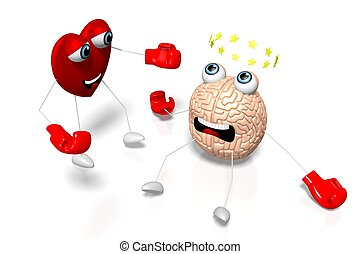 3D heart and brain cartoon characters - boxing, fight