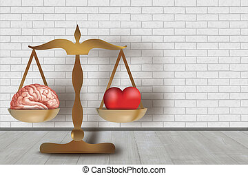 3d heart and brain concept on balance. White brick wall background