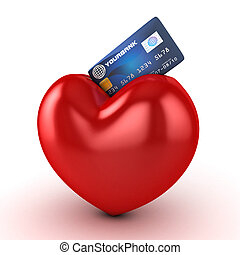 3d heart and credit card isolated