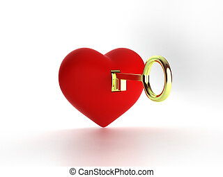 3D Heart and gold key isolated on white, illustration, Rendering