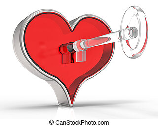 3d Heart and Key Background