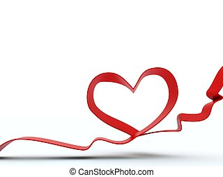 3d heart from ribbon isolated on white