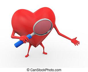 3d heart holding magnifier illustration