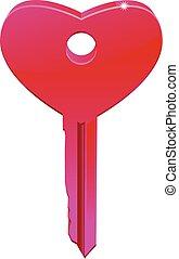 3D Heart Key vector icon
