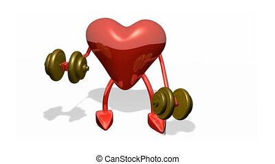 Heart lifting weights - 3d Heart lifting weights
