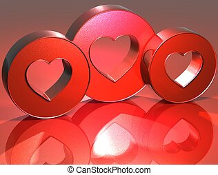 3D Heart Red Sign