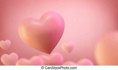 3d heart render seamless loop 4k. 3D Render of romantic ...