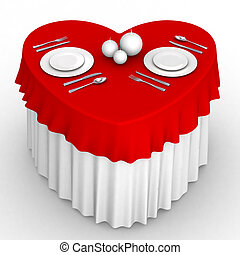 3d heart table - 3d table in heart shape for romantic dinner