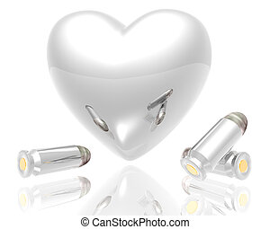 3d heart with bullets