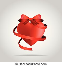 3D Heart with ribbon T-shirt design vector