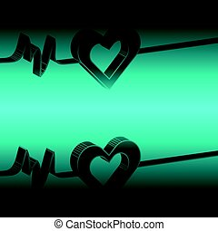 3D hearts on blue background