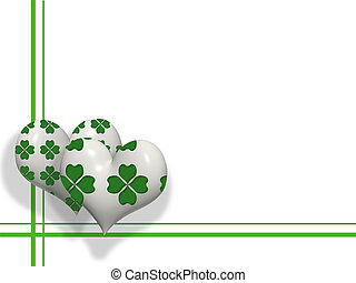 3D hearts with four leaves shamrock