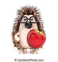 3d Hedgehog holding an apple