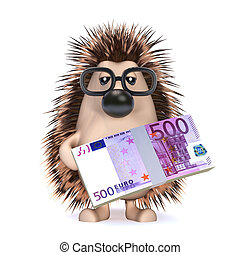 3d hedgehog holds Euro currency