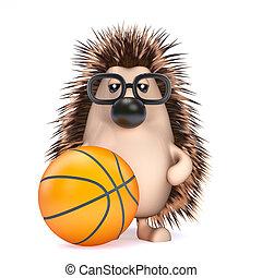 3d Hedgehog plays basketball
