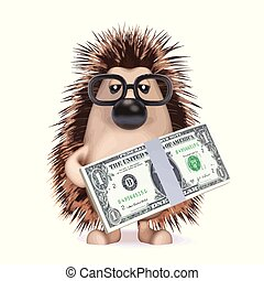 3d Hedgehog with US Dollars