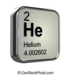 3d render of the helium element from the periodic table