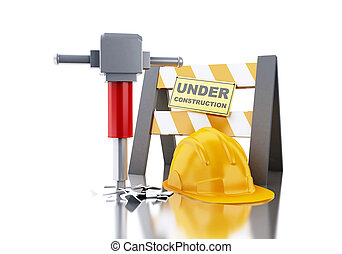 3d Helmet with jackhammer and under construction sign.
