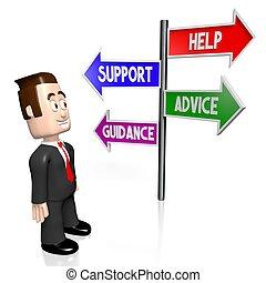 3D help, support, advice, guidance concept