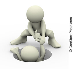 3d helping hand - 3d render of a person helping another man....