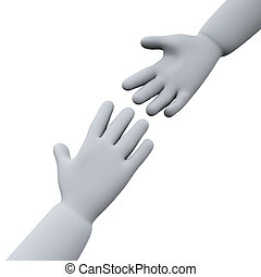 3d helping hands - 3d illustration of helping hands.