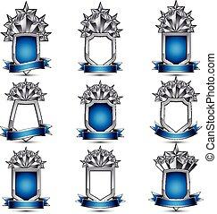 3D,  heraldic, 集合, 銀色, 圖象