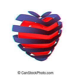 3d, hermoso, rojo, brillante, corazón, de, el, bands., 3d, illustration., anaglyph., vista, con, red/cyan, anteojos, para ver, en, 3d.