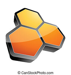 3d hexagon vector illustration