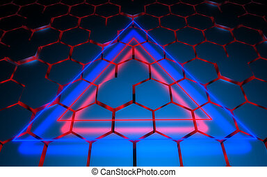 3D hexagonal abstract background. 3d illustration