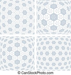 3D hexagons patterns. Abstract geometric backgrounds set....