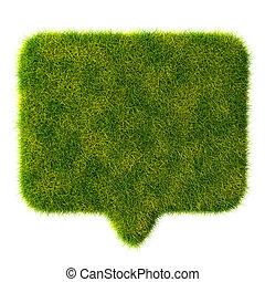 3d, hierba verde, burbuja, charla, blanco, plano de fondo