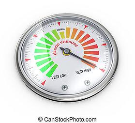3d high blood pressure meter - 3d illustration of guage ...