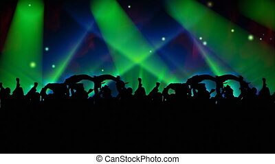 3d high definition animation of People Dancing at a concert and having fun with lights flashing in the background