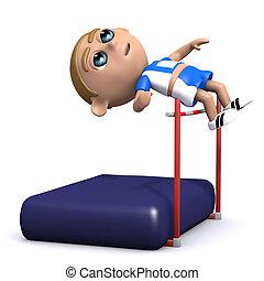 3d High jump - 3d render of an athlete doing the high jump