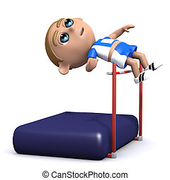 3d High jump - 3d render of an athlete doing the high jump