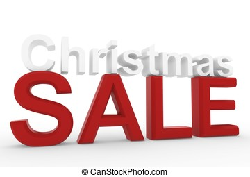 3d High resolution image Christmas sale sign isolated on...