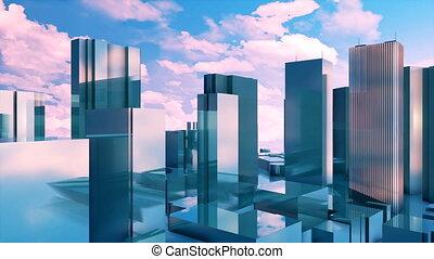 3D high rise buildings reflection mirror facades 4K -...