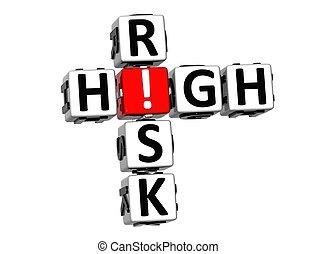 3D High Risk Crossword on white background