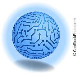 3D. High tech modern concept design. Blue ball, Earth in...