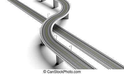 3D highway with bypass element isolated on white background