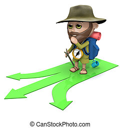 3d Hiker has to make a decision - 3d render of hiker looking...